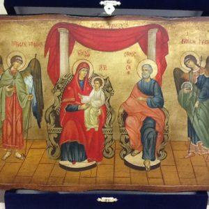 """Icona rumena""""Sacra Famiglia con Arcangeli Raffaele e Gabriele""""realizzata a Mano su legno pezzo numerato cm.32x21.5h"""