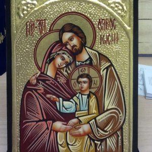 """Icona rumena""""Sacra Famiglia"""" Oro realizzata a Mano su legno pezzo unico numerato cm.14x18h"""