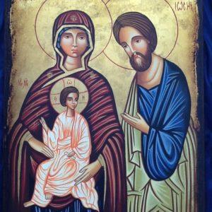 """Icona rumena""""Sacra Famiglia"""" realizzata a mano su legno pezzo unico numerato cm.23x31h"""