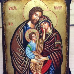 """Icona rumena""""Sacra Famiglia""""realizzata a Mano su legno pezzo unico numerato cm.18x22h"""