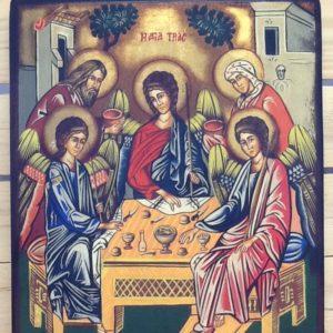 """Icona rumena""""Santissima Trinita con Abramo e Sara""""realizzata a Mano su legno pezzo unico numerato cm.31.5x38.5h"""