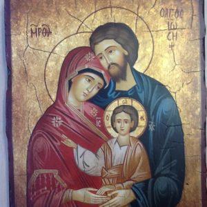 """Icona """"Sacra Famiglia"""" articolo numerato realizzata su tavola di legno ricoperta di lino e gesso dipinta a mano con colori naturali e foglia  d oro cm.18x22"""