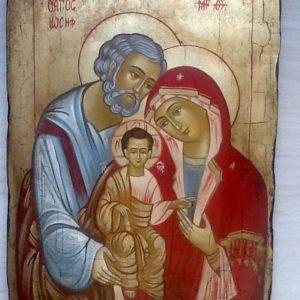 """Icona """"Sacra Famiglia """" articolo numerato""""realizzata a mano su tavola di legno ricoperta di lino e gesso con colori naturali e foglia oro cm.22x32"""