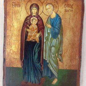 """Icona """"Sacra Famiglia in Piedi"""" articolo numerato realizzato a mano su tavola di legno ricoperta di lino e gesso,colori naturali e foglia oro,cm.18x22"""