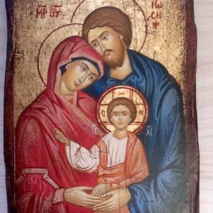 """Icona """"Sacra Famiglia""""realizzata a mano su legno ricoperta di lino e gesso colori naturali e foglia d oro articolo numerato cm.10x14"""
