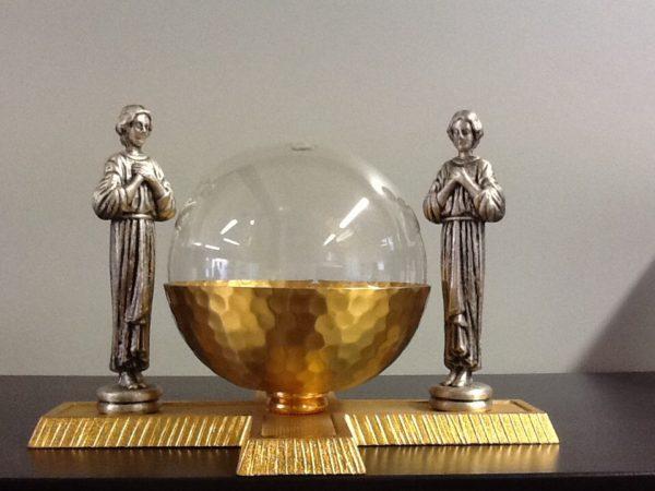 Lucerna a sfera in vetro su base in acciaio e ottone dorato cm.19x12x13h.
