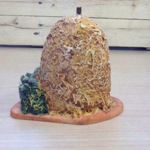 Palla di fieno in resina colorato a mano cm.10x10.5x10.5h