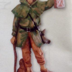 Pastore con bastone e lanterna,realizzato in resina colorata e rifinita a mano per presepe da cm 12