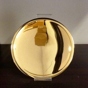 Patena realizzata in metallo dorato diametro cm.15