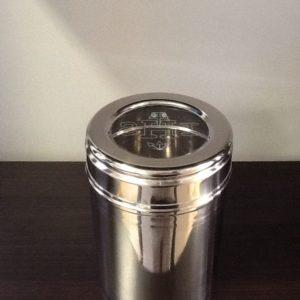 Porta particole,ostie in inox con scritta IHS diametro cm.9,2 h.cm.13.5