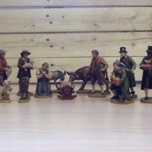 Presepe 'tirolese' in legno d'acero della Val Gardena 12 pezzi cm.12 dipinti a mano con colori ad olio