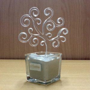 """profumatore """"Albero Della vita""""  artigianato veneziano realizzato in vetro trasparente. Base cm.6x6. Albero larg.10,5. Completo h.cm.15"""