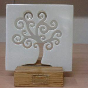 """Quadretto veneziano """"Albero Della vita"""" in vetro da muro/tavolo con appoggio in legno realizzato a mano cm.15x15h"""