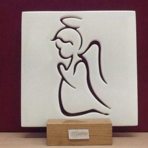 """Quadretto veneziano""""Angelo custode"""" in vetro da muro/tavolo appoggio in legno realizzato a Mano cm.15x15 h"""
