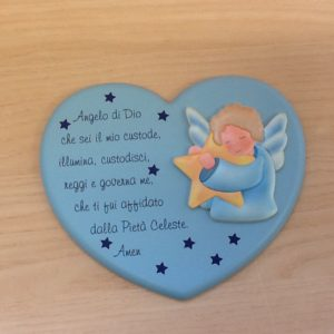 """Quadro """"Angelo di Dio"""" in resina Celeste a forma di cuore con preghiera e Angelo applicato cm.20x16"""