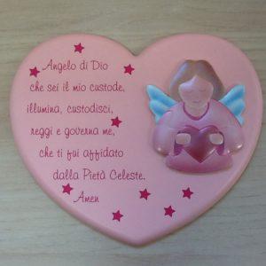 """Quadro """"Angelo di Dio"""" in resina rosa a forma di cuore con preghiera e Angelo applicato cm.20x16"""