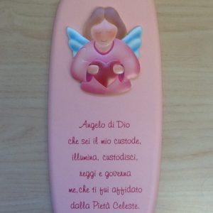 """Quadro """"Angelo di Dio""""in resina rosa con preghiera e Angelo applicato cm.12x26h."""