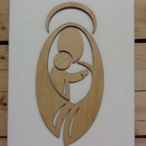 """Quadro in legno """"Madonna con bambino"""" cm.21x30h"""