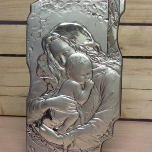 """Quadro """"Madonna con bambino"""" radica e argento da muro/tavolo fatto a mano cm.20x37h"""