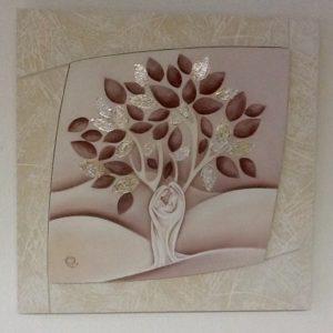 """Quadro """"Sacra Famiglia in Albero della Vita"""" realizzato in Italia in legno con foglia oro cm.50x50x2,5"""