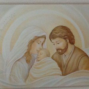 """Quadro """"Sacra Famiglia""""""""Albero Della Vita"""" realizzato su pannello in legno decorato con argento,Oro,e bordo perla cm.100x 50x3"""