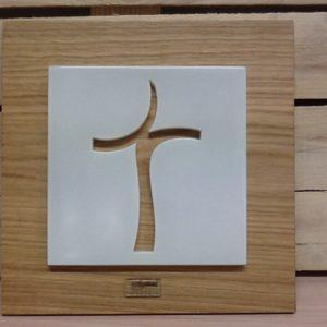 """Quadro veneziano""""Croce""""in vetro su legno realizzato a Mano cm.29x29h"""