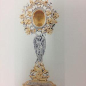 reliquiario fusione angelo fiori bicolore 38x15