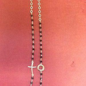 Rosario collana tre decine in metallo nobile silver 'gold' con grani in cristallo sfaccettato nero