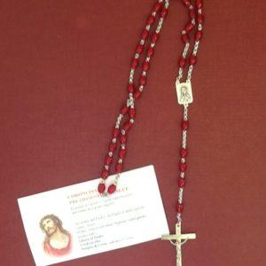 """Rosario coroncina """"preziosissimo Sangue"""" con Croce in metallo con grani in resina rossa"""