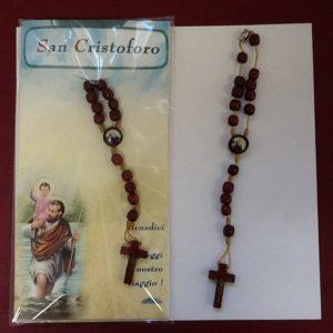 """Rosario da viaggio """"San Cristoforo"""" in legno"""