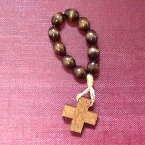 Rosario decina in corda e legno con croce
