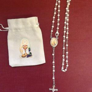 Rosario per comunione finta perla con sacchetto disegnato