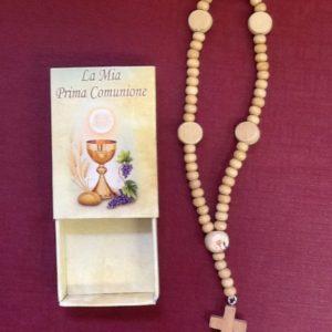Rosario per comunione in legno con croce e calice in scatolina disegnata cm.16