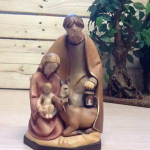 Sacra famiglia con animali in legno della Val Gardena rifinito a mano cm. 20h