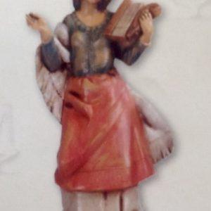 Statuina donna con arpa realizzato in resina colorata e rifinita a mano per presepe da cm 12