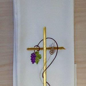"""Stola di colore avorio con ricamo """"spiga uva"""" poliestere"""
