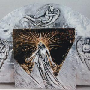 tabernacolo da muro con raggera angeli porta resurrezione bicolore 19x19x20