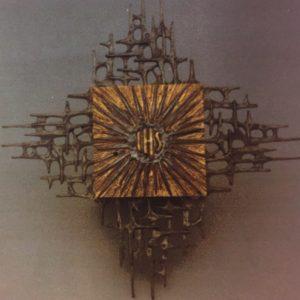 tabernacolo da muro ihs bicolore cassa 19x19x19 raggera 65cm