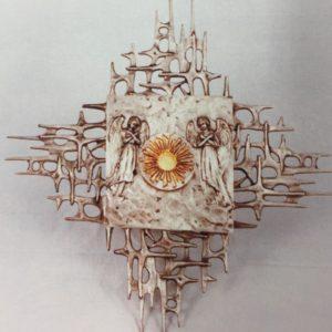 tabernacolo da muro porta angeli con esposizione 21x21x20  più raggera