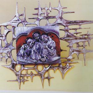 tabernacolo da muro porta cena emaus smalti rossi 18x21 con raggera
