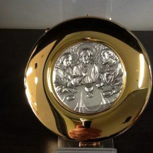 """Teca in ottone dorato con placca in metallo """" cena"""" diametro cm.8"""