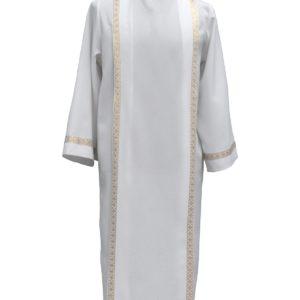 tunichetta/vestina collo risv. piegoni bordo oro 2,5cm poliestere bianca