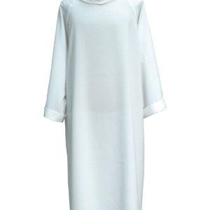 tunichetta/vestina collo risvoltato senza cerniera 100%poliestere in bianco o avorio