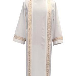 tunichetta/vestina piegoni bordo oro 100%poliestere bianca