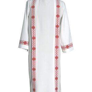 tunichetta/vestina piegoni bordo rombi rossi 100%poliestere bianca