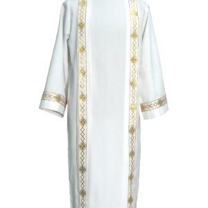 tunichetta/vestina piegoni collo risv.bordo rombi oro 100%poliestere bianca