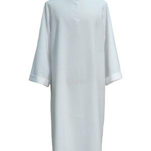 tunichetta/vestina svasata giro collo 100%poliestere più scapolare bordo oro 2,5cm bianca