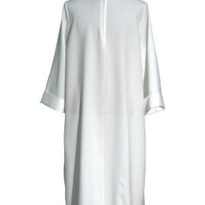 tunichetta,vestina svasata manica giro finto cappuccio 100%poliestere bianca o avorio