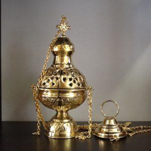 Turibolo in metallo dorato decorato