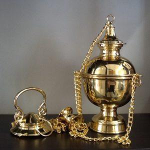 Turibolo in metallo lucido dorato